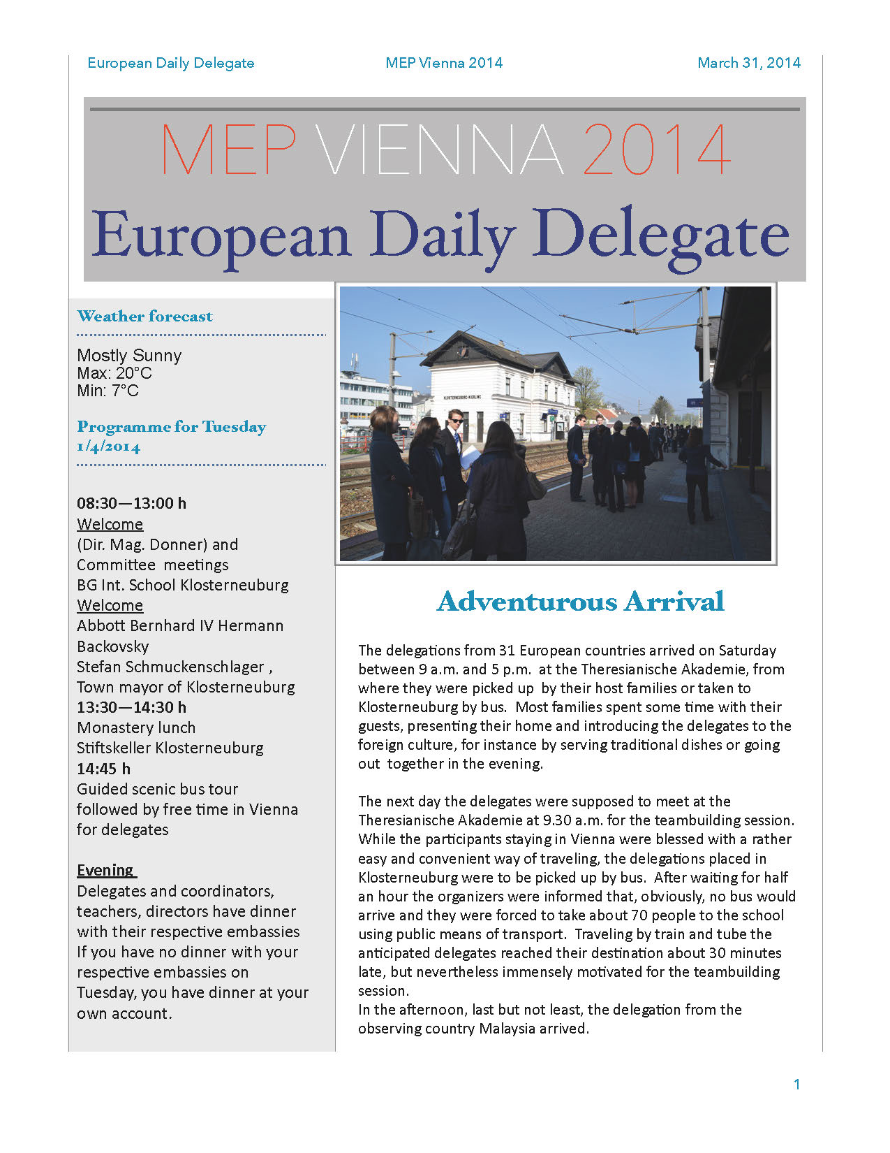 The European Daily Delegate (Issue 1)